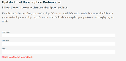 Resubscribe Form